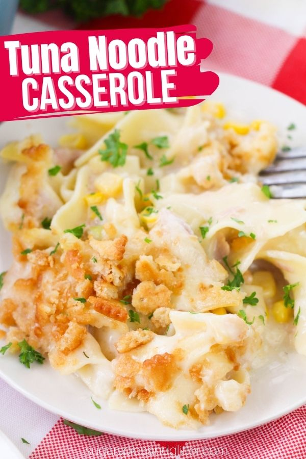 This easy tuna noodle casserole is made from-scratch with no canned soups, for a cleaned-up version of this family classic. Perfectly seasoned, creamy sauce coats buttery egg noodles, tender veggies and juicy tuna before being topped with cheese and toasted Ritz Cracker crumbs. Comfort food at it's finest!