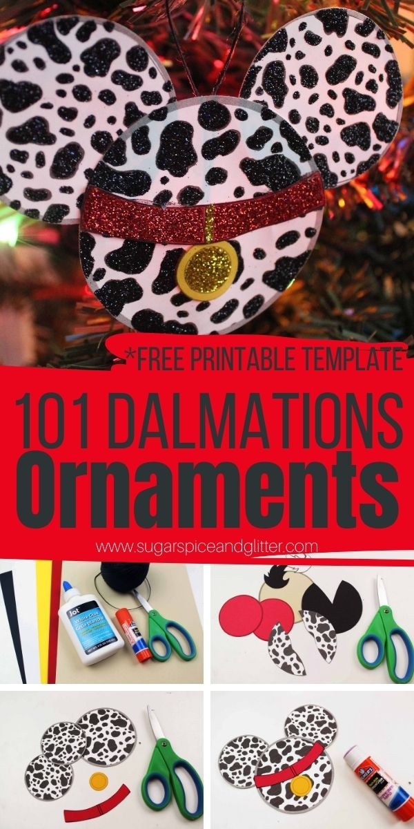 How to make a 101 Dalmatians ornament (plus a Cruella DeVille ornament) using our free printable template. Add some Disney magic to your Christmas crafting with these super cute paper ornaments