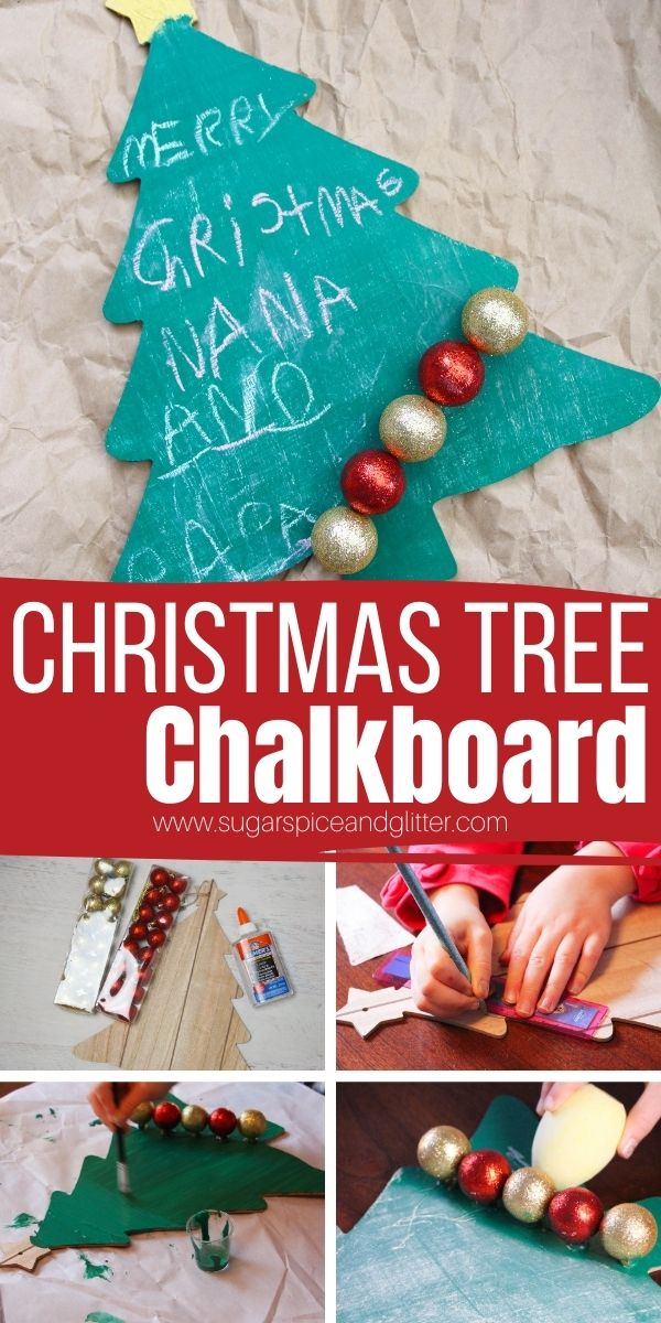 How to make a Christmas Tree Chalkboard to add a festive touch to your holiday to-do list or add festive sayings to. A practical Christmas decor item that also makes a thoughtful homemade gift