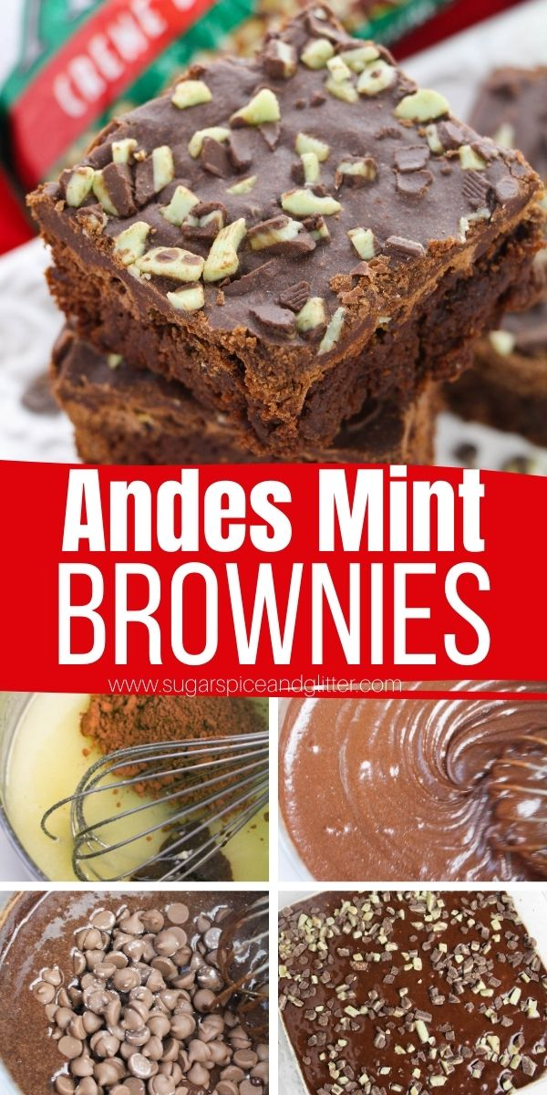 How to make Andes Thin Mint Brownies, a rich, fudgy brownie ready in less than 10 minutes and topped with a silky boiled chocolate frosting and even more thin mint bits