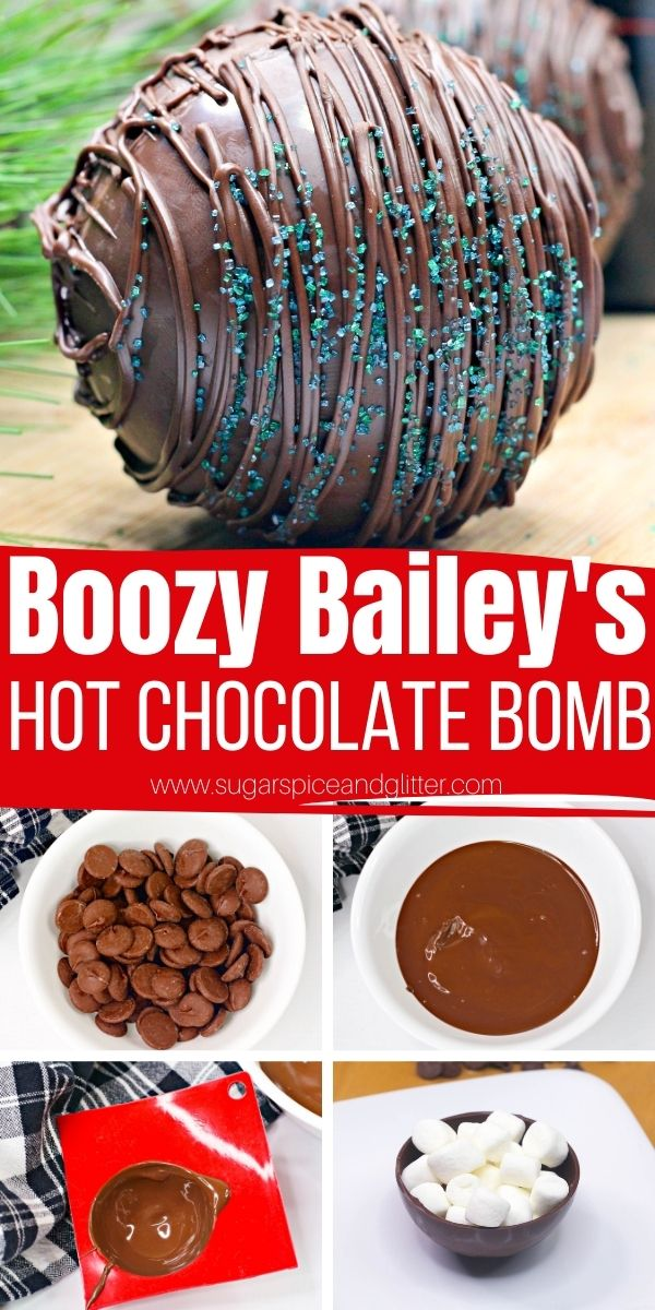 How to make Boozy Hot Chocolate Bombs with a Bailey's Truffle center. These hot chocolate bombs make the perfect cup of Baileys spiked hot chocolate, rich, indulgent and super flavorful