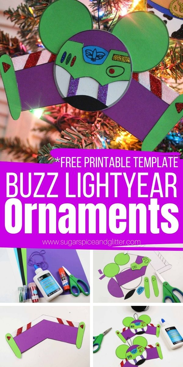 How to make Buzz Lightyear Ornaments - including a free printable template! These cute Disney Christmas ornaments are super simple to make and add some Disney magic to your Christmas decor