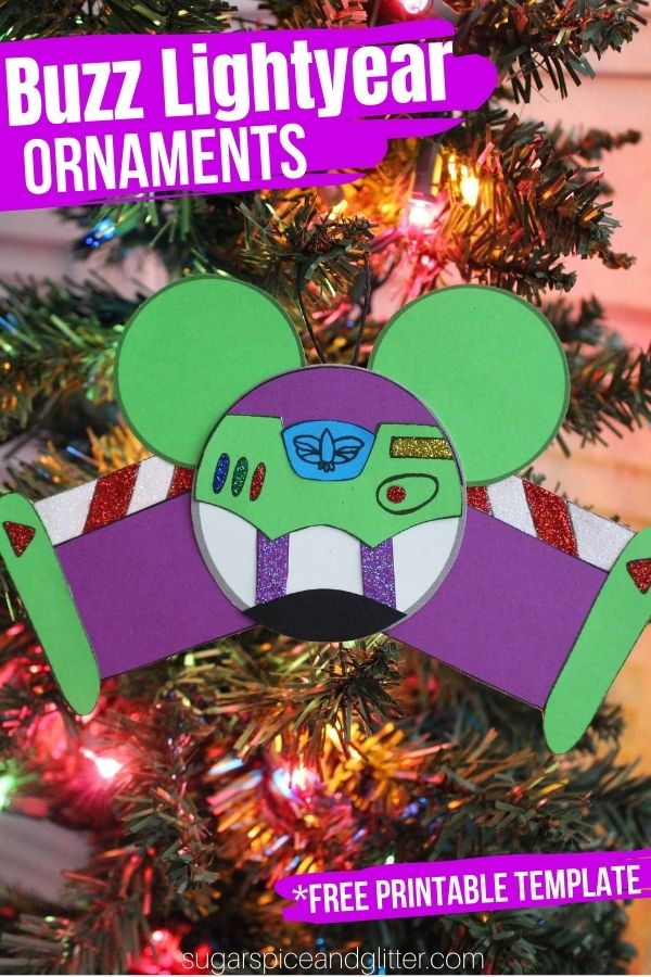 Free printable craft template to make your own Buzz Lightyear Christmas Ornaments. A fun Toy Story craft for Christmas for kids or grown-ups!
