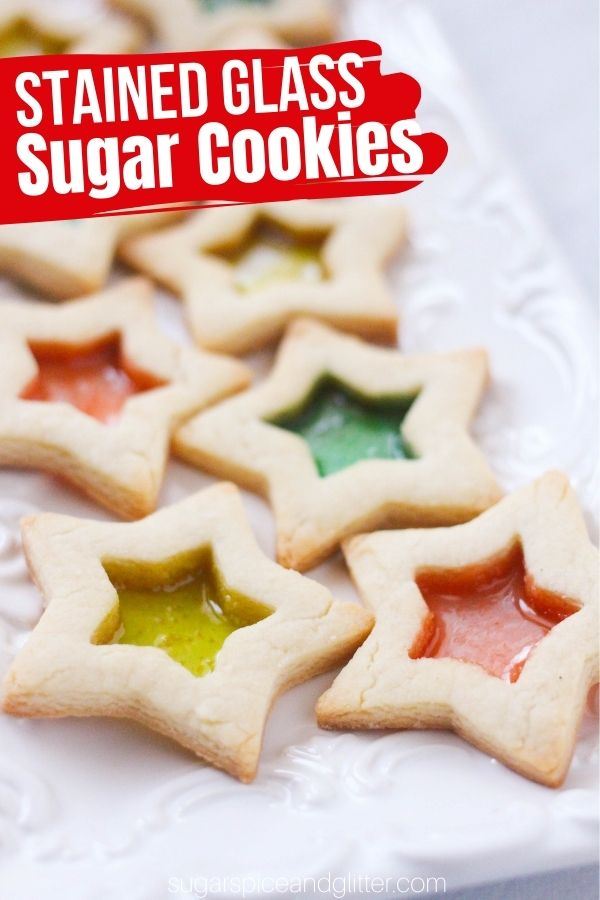 A super simple stained glass window cookie using homemade sugar cookie dough and crushed candies to create a gorgeous and unique Christmas cookie recipe.
