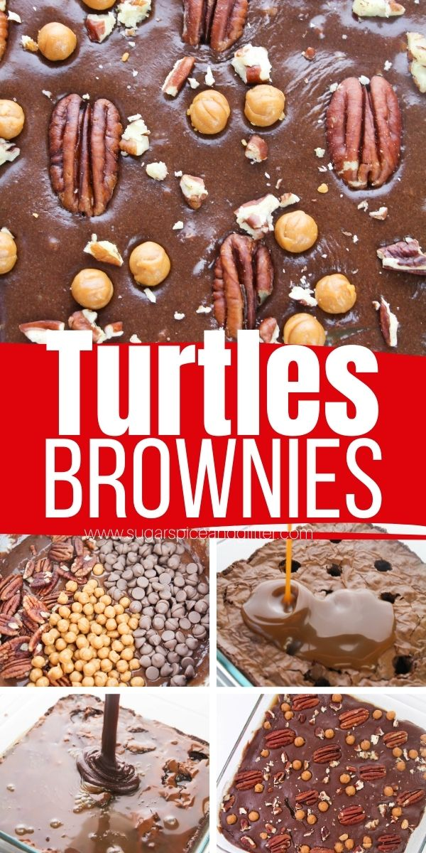 How to make the best caramel pecan brownies inspired by the classic candy, these Turtles Brownies are rich, fudgy and packed with caramel, chocolate and pecan flavors. You're going to need a fork to dig into this decadent brownie!