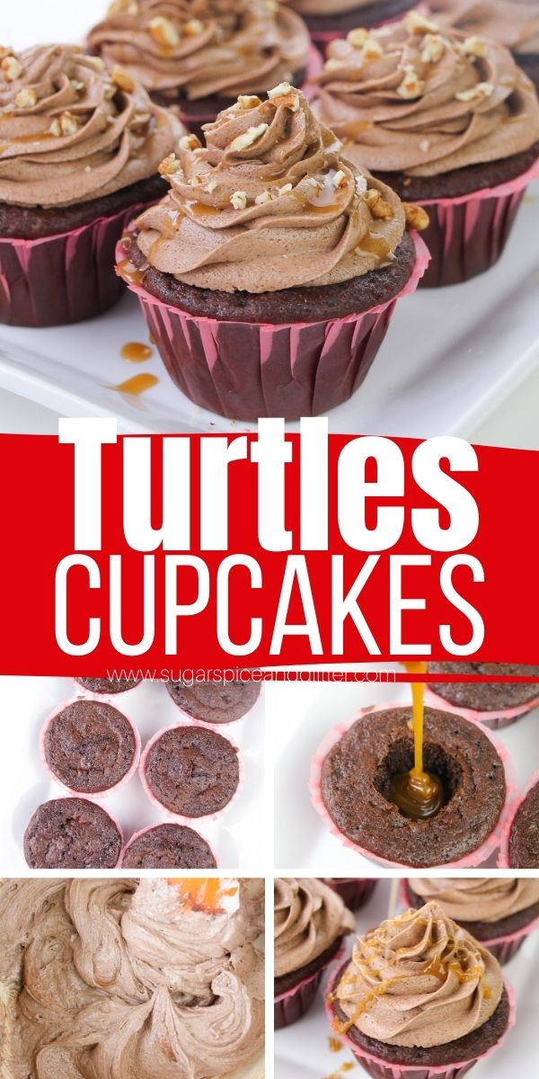 How to make Turtles Cupcakes, an indulgent chocolate caramel pecan cupcake with lush chocolate buttercream frosting and a salted caramel filling. These indulgent chocolate cupcakes are the perfect dessert for the Turtles candy fan in your life!