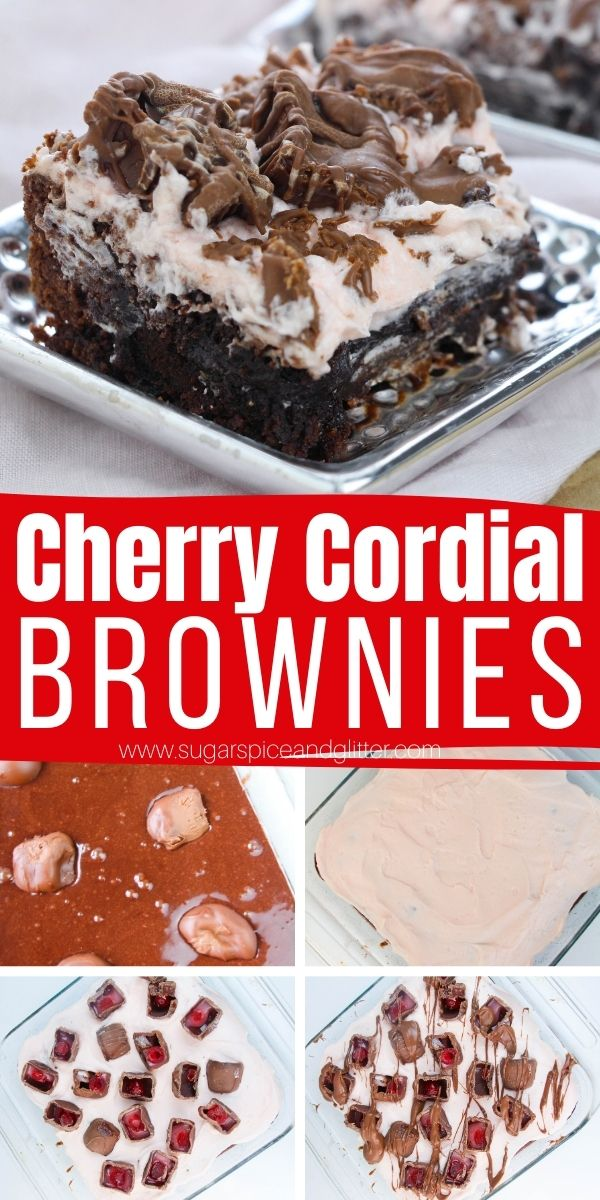 How to make cherry cordial brownies, the ultimate dessert for cherry cordial fans. Rich, fudgy chocolate brownies with cherry cordials baked into the batter and then chopped and sprinkled over a homemade cherry frosting. The perfect Christmas brownie recipe!
