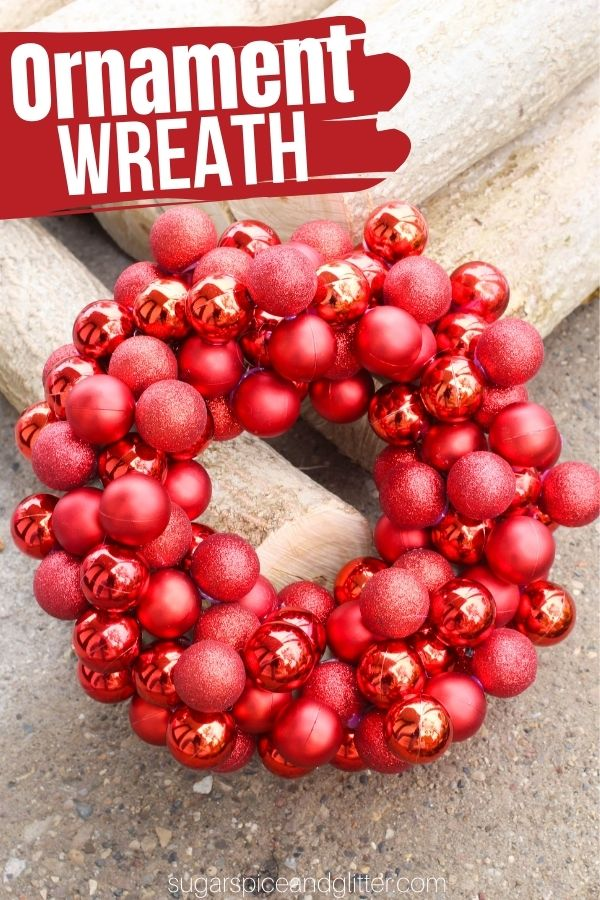 An incredibly easy step-by-step Christmas ornament wreath to add some serious glamour and drama to your door for the holidays. There are so many ways to make this easy DIY ornament wreath your own using different color schemes or added embellishments.