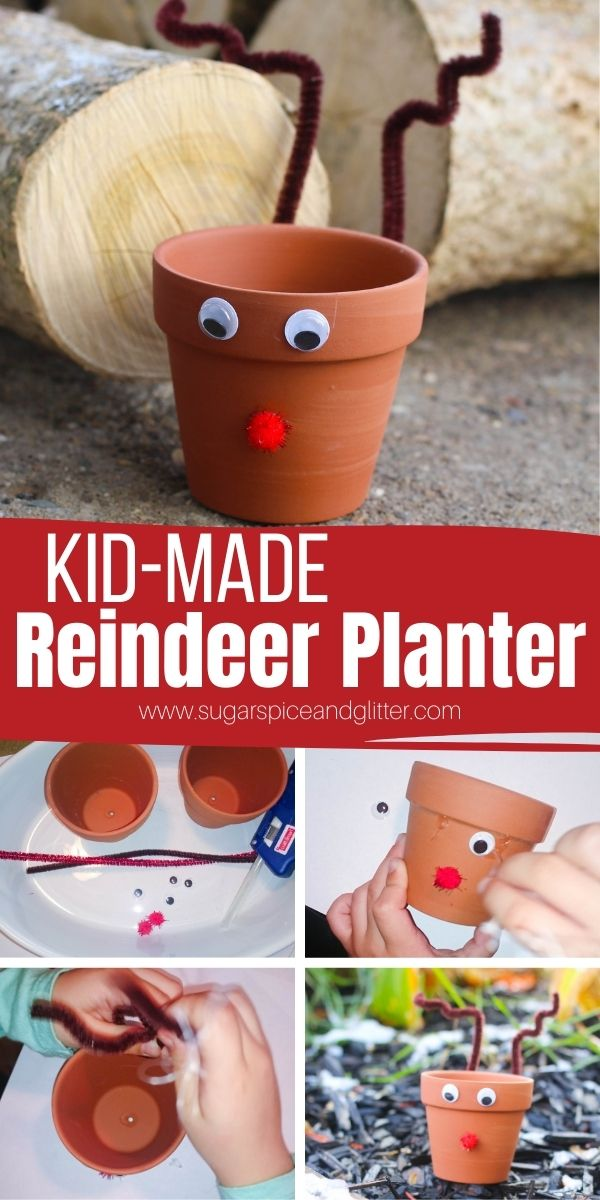 How to make a Reindeer Planter, a fun garden craft for kids to add some festive cheer to your windowsill garden over the holidays. These Rudolph planters make a thoughtful gift for the gardeners in your life