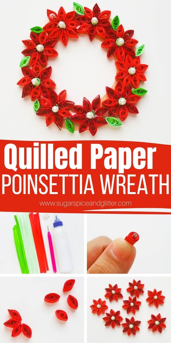 How to make a quilled paper wreath or quilled paper poinsettias. This quilled paper craft looks intricate and difficult to make but is deceptively easy! Use a quilled paper tool for the easiest crafting experience