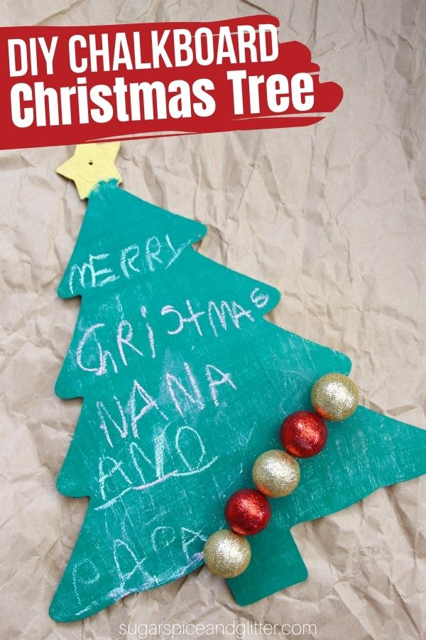 An easy DIY Christmas Chalkboard, perfect for adding a festive touch to your to-lists - or just a cute spot to write your favorite Christmas sayings or lyrics. This Christmas Tree chalkboard is a great homemade gift idea or just a fun, practical piece of holiday decor