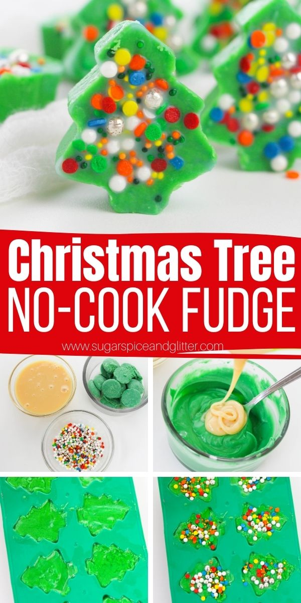 How to make Christmas tree fudge, a fun no bake Christmas recipe the kids can make independently! You can swap out the green candy melts for white chocolate wafers or almond bark, if you prefer.