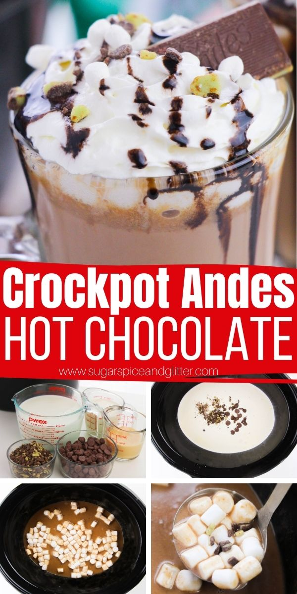 How to make Crockpot Andes Mint Hot Chocolate, a decadent, creamy and rich hot chocolate the whole family will love! Set up a mini hot chocolate bar with garnishes and let everyone self serve