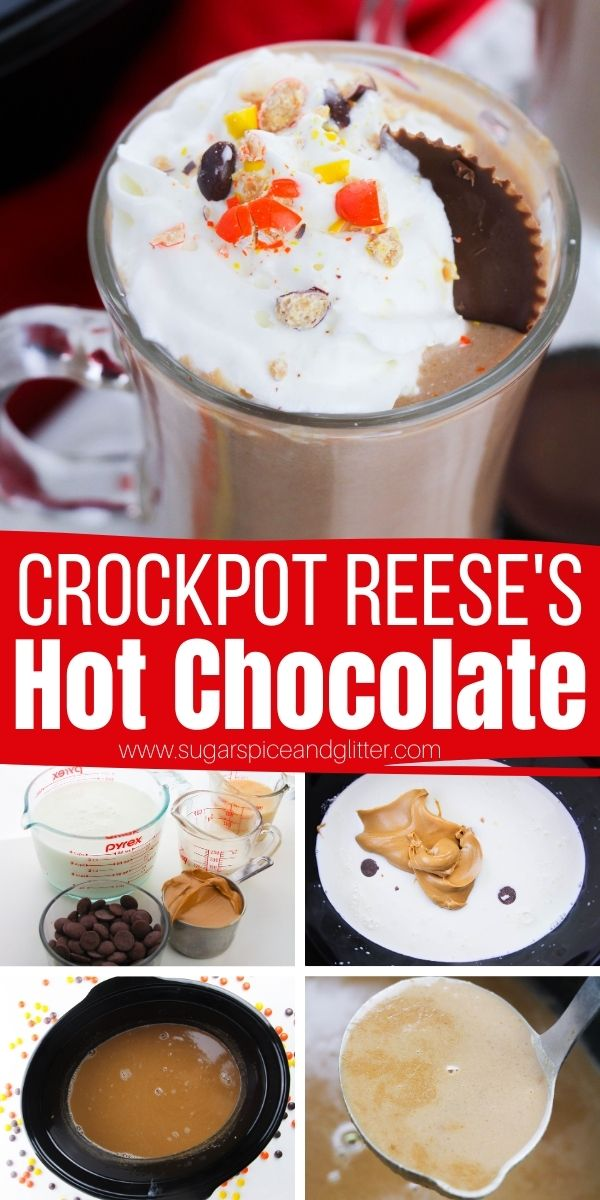 How to make Crockpot Reese's Hot chocolate, the most decadent hot chocolate of your life. This peanut butter hot chocolate is for true peanut butter and chocolate fans only, with it's rich and delicious flavor and creamy texture