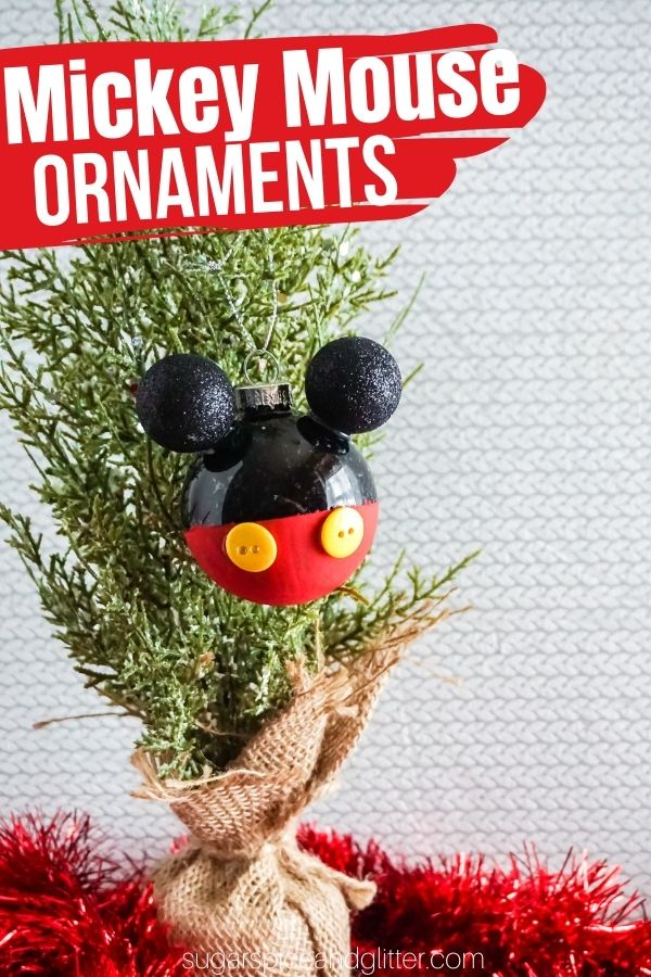 These super simple Mickey Mouse Christmas Ornaments add some Disney magic to your Christmas tree and can be customized in so many fun ways!