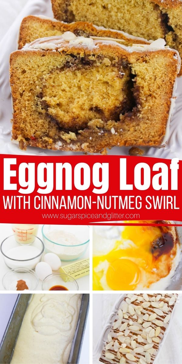 How to make the best eggnog bread, an easy and low-key eggnog dessert perfect for last minute guests or a winter brunch. Features a cinnamon-nutmeg sugar swirl and an eggnog icing drizzle
