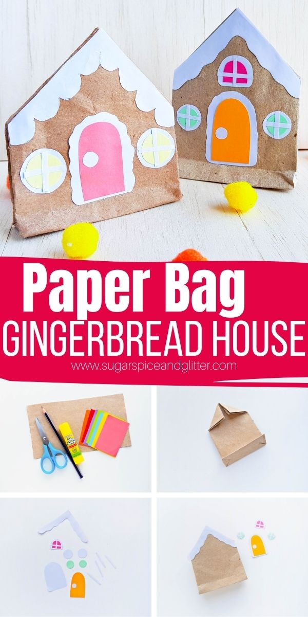 How to make a Paper Bag Gingerbread House craft for kids, using extra brown paper grocery bags or leftover packaging paper. Our free printable gingerbread house template makes decorating these crafts so easy!