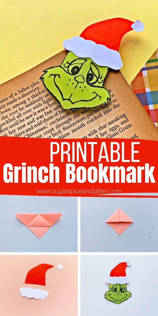How to make a Grinch Bookmark using simple origami folds and a free printable Grinch template. This is the perfect Christmas craft for little readers, and can also be used to decorate homemade cards or Christmas pictures
