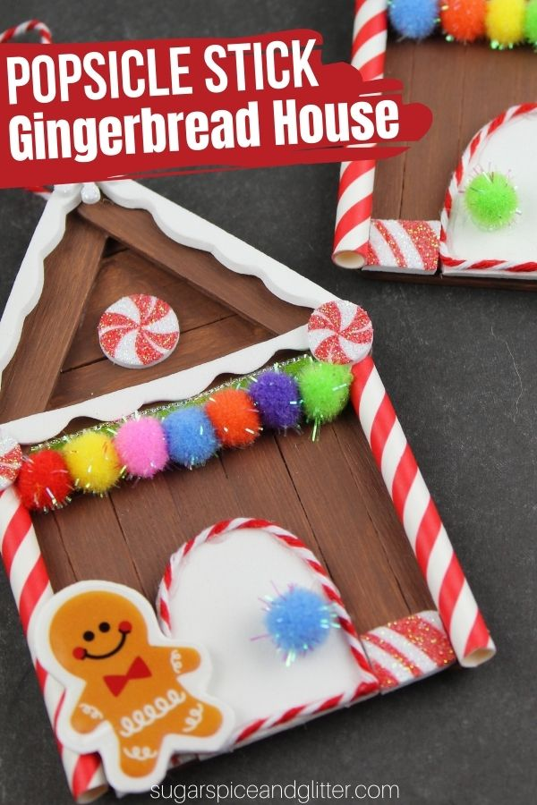 How to make your own popsicle stick gingerbread houses - turn them into ornaments, fridge magnets or homemade gift tags. A fun Christmas craft for kids with lots of room for personalization.