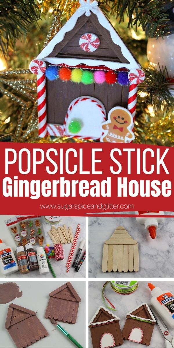 How to make a popsicle stick gingerbread house using everyday crafting supplies. Kids will love getting to make these gingerbread ornaments that can be hung on the tree or turned into Christmas fridge magnets