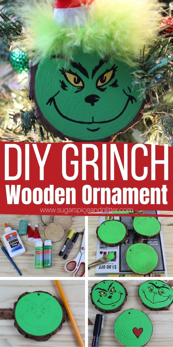 How to make a Wood Slice Grinch Ornament, a whimsical addition to your Christmas decor. These wooden ornaments are simple enough for kids to help make and make a great homemade gift for teachers or Grinch fans
