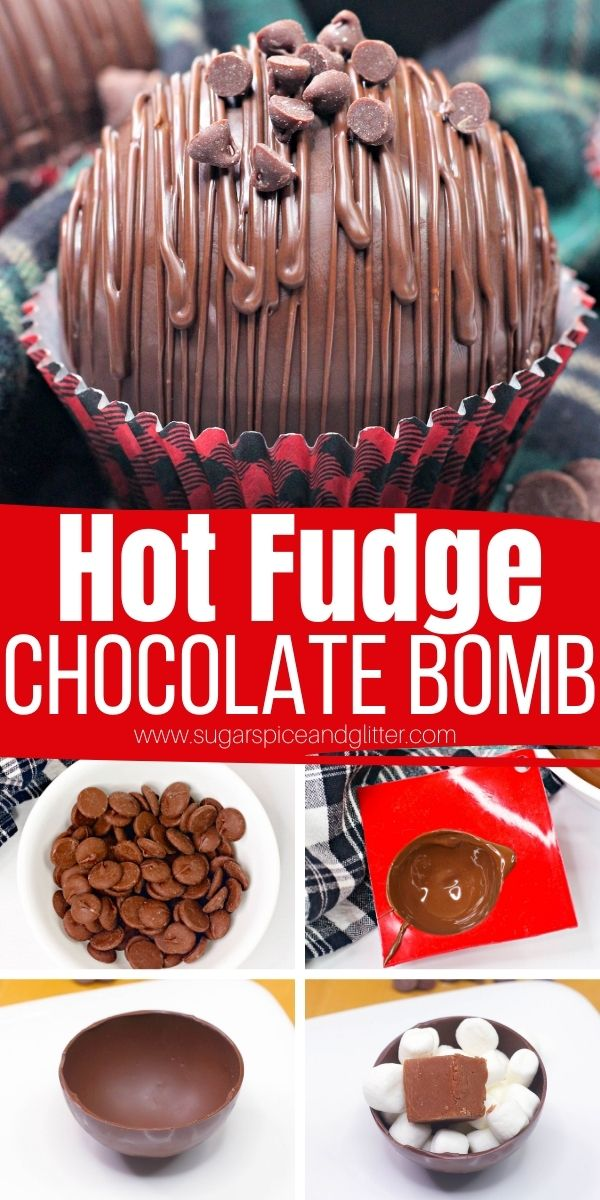 How to make hot fudge chocolate bombs - the most indulgent hot chocolate bomb yet! Pop one of these hot chocolate bombs in a mug of warm milk for an explosion of rich, chocolatey flavor - for true chocoholics only!