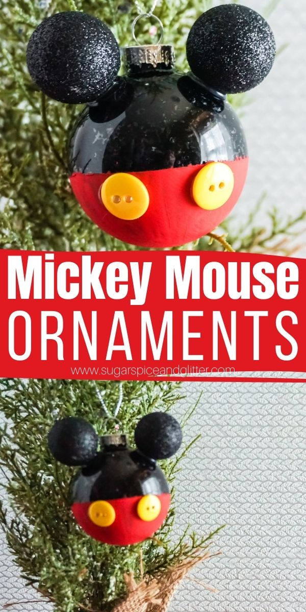 How to make your own Mickey Mouse Ornaments - you can make 12 for the cost of one at the parks! Customize them with family member's names, change out the color schemes, use jingle bells for ears, etc. A fun way to bring some Disney magic into your Christmas crafting