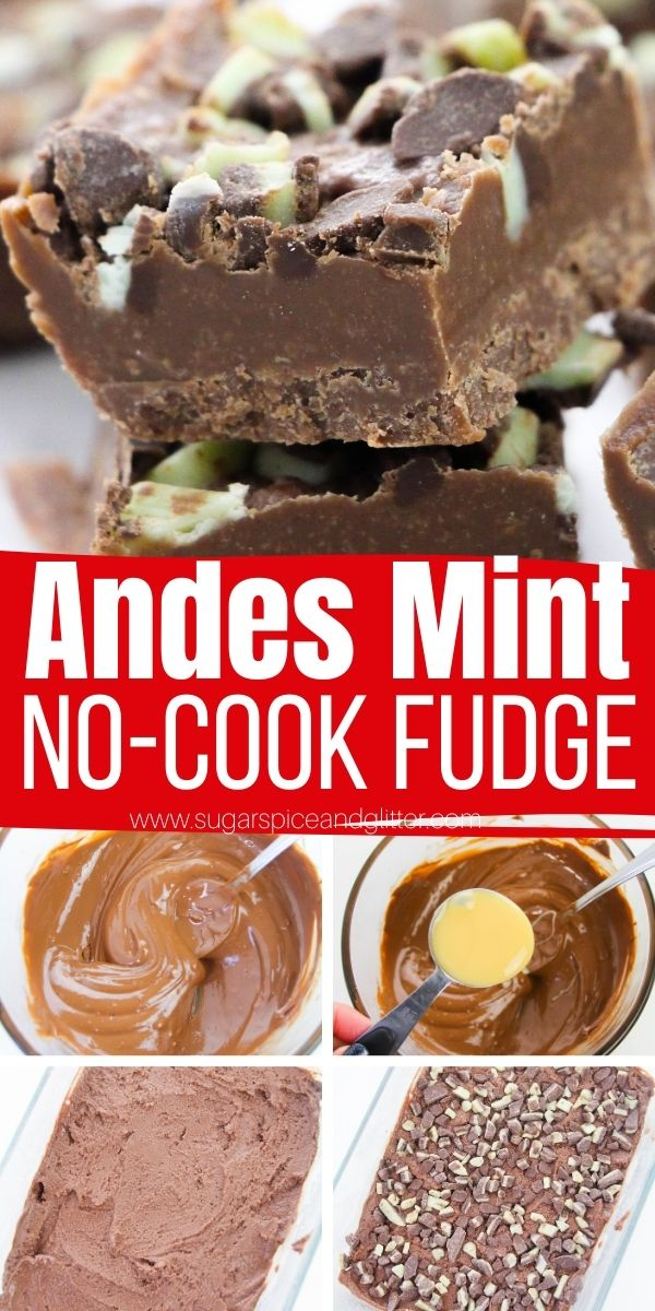 How to make no-cook Andes Mint Fudge in just 10 minutes with only 3 ingredients! The perfect homemade gift for the mint chocolate lover in your life, or a fun addition to your Christmas or St Patrick's day get-togethers