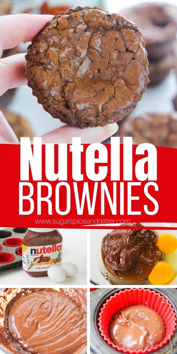 How to make the best 2-ingredient Nutella Brownies, a crackly, fudgy brownie recipe with rich Nutella flavor. The perfect easy Nutella dessert for true Nutella fans