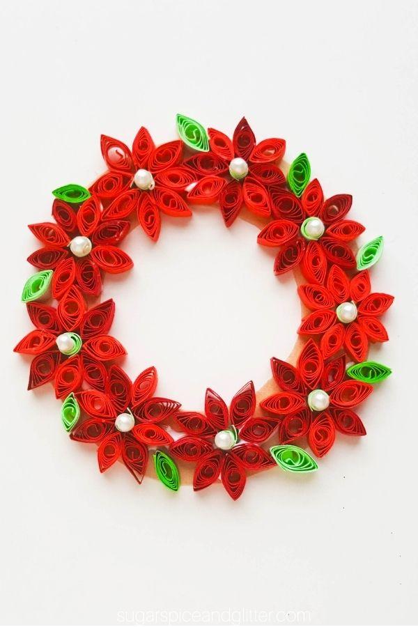 Quilled Poinsettia Wreath