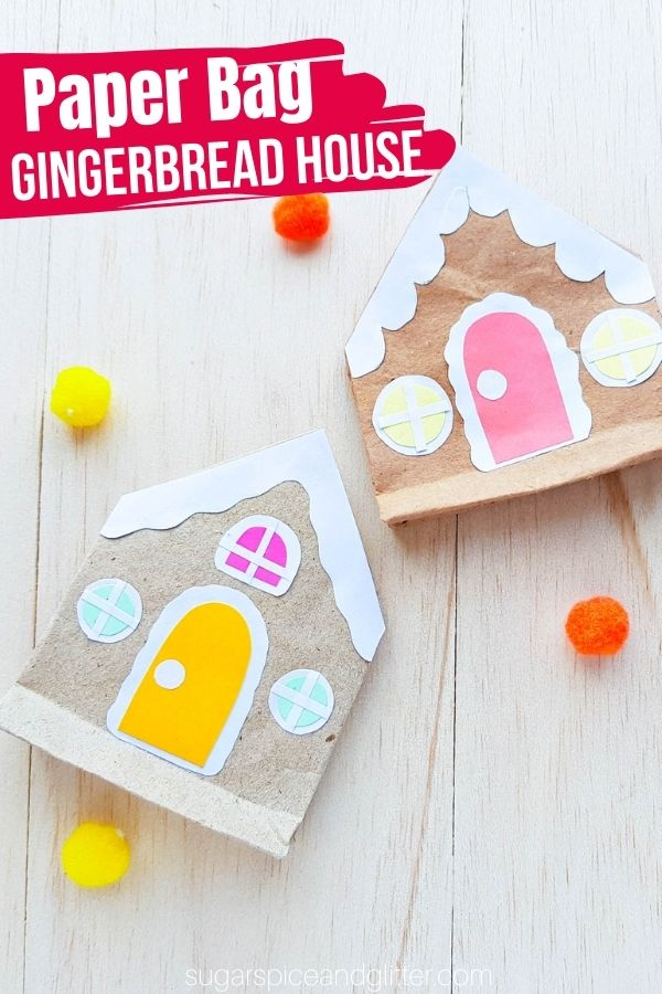 Use our free printable template to make this paper bag gingerbread house craft for kids! A fun way to put brown paper bags or leftover brown packaging paper to a creative use!