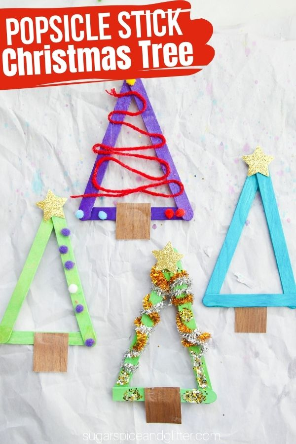 A simple Christmas craft for kids, these Popsicle Stick Christmas Trees are a fun way for kids to work on their fine motor skills while creating a fun Christmas craft! Attach a magnet to the back or a loop of string to turn into ornaments