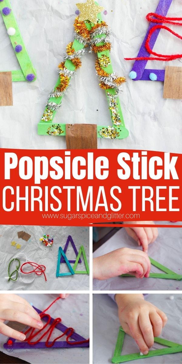 How to make popsicle stick Christmas trees, a fun Christmas craft for kids that helps work on their fine motor skills. This easy Christmas craft is a great way to use up leftover craft supplies and can be turned into an ornament or fridge magnet