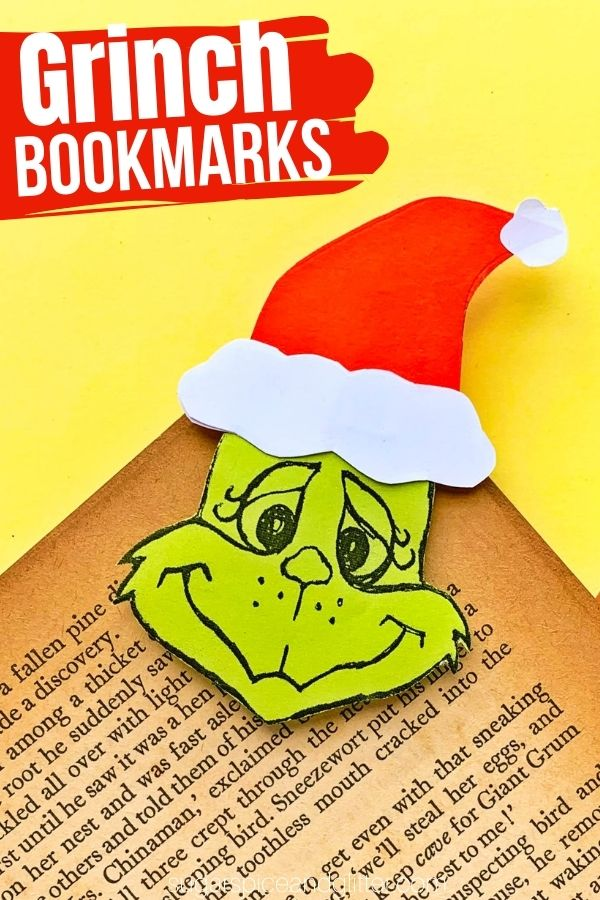 A super simple craft tutorial to make your own Grinch bookmark - a fun Christmas craft for little readers. This Christmas paper craft is made extra easy with a free printable Grinch template
