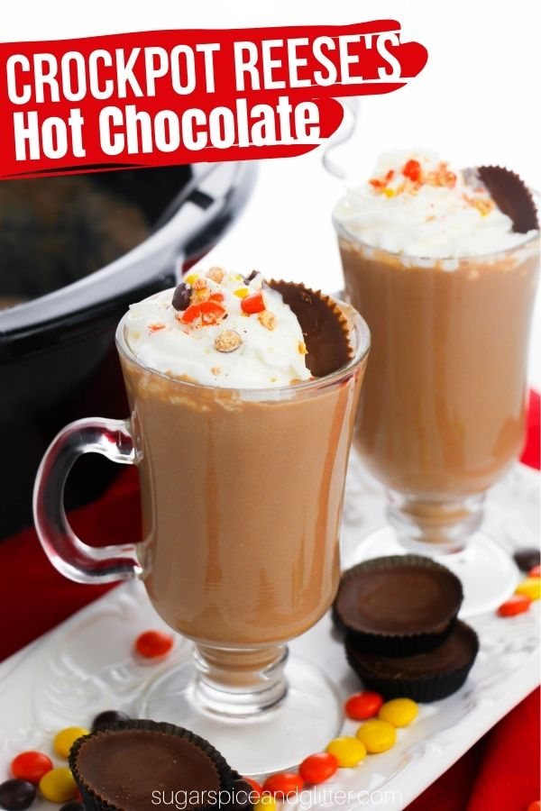 An easy crockpot hot chocolate recipe with all of the flavor of a Reese's peanut butter cup. This peanut butter hot chocolate is the perfect drink for the Reese's Pieces lover in your life