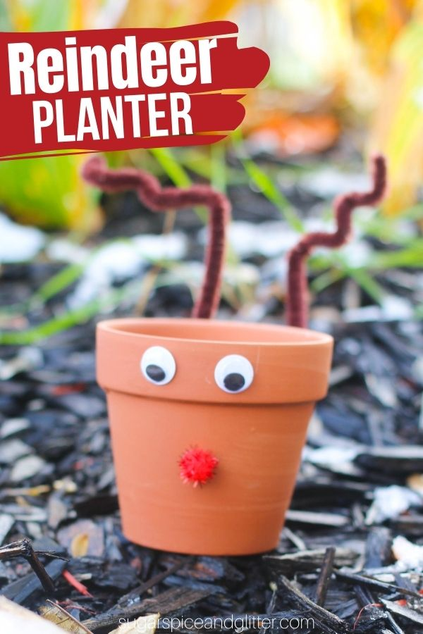 A fun homemade gift for the gardeners in your life, these easy Reindeer Planters add some festive cheer to windowsill gardens. A super simple garden craft for kids.