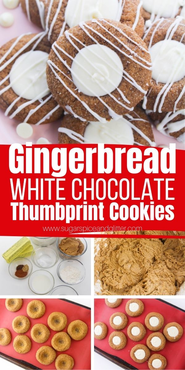 How to make the best ever Gingerbread Thumbprint Cookies with a luscious white chocolate center. These soft, perfectly spiced gingerbread cookies are the ultimate cookie to bring to your Christmas cookie exchange