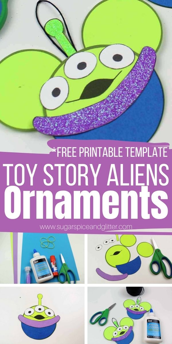 How to make Toy Story Alien Ornaments - including a free printable template! These cute Disney Christmas ornaments are super simple to make and add some Disney magic to your Christmas decor
