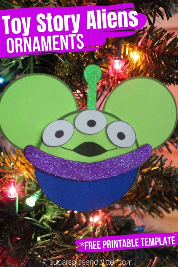 Free printable craft template to make your own Toy Story Alien Christmas Ornaments. A fun Toy Story craft for Christmas for kids or grown-ups!