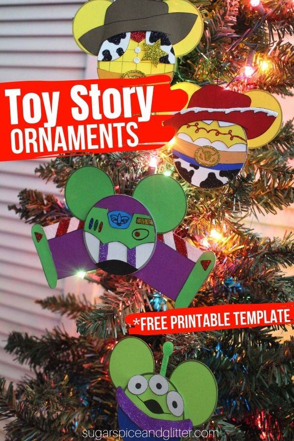 Free printable templates to make your own Toy Story ornaments - Buzz Lightyear, Woody, Jessie and those cute little aliens. Add some Disney magic to your Christmas crafting