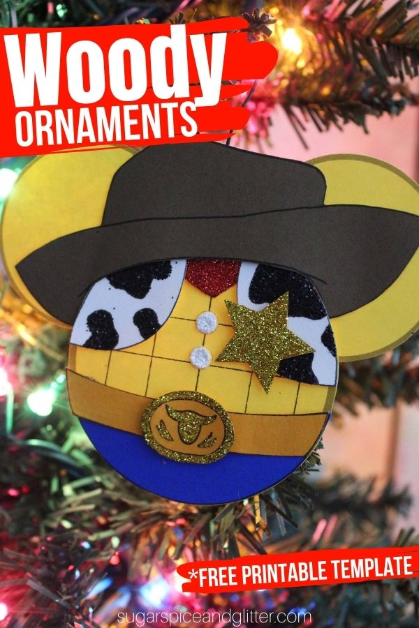 Free printable craft template to make your own Sheriff Woody Christmas Ornaments. A fun Toy Story craft for Christmas for kids or grown-ups!