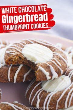 White Chocolate Thumbprint Gingerbread Cookies