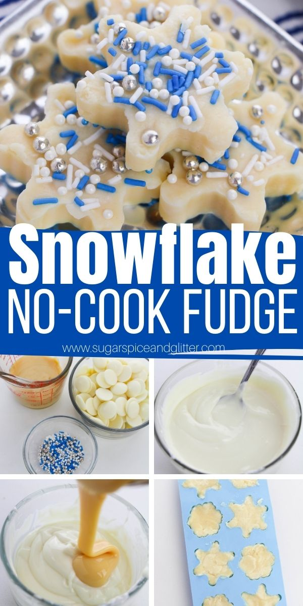 How to make the best white chocolate fudge without cooking! This no-cook white chocolate fudge can be cut into squares or given a fun winter shape using silicone molds. A perfect winter dessert for the kids to help make