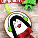 Wooden Slice Penguin Ornament