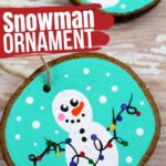 Snowman Wooden Slice Ornament