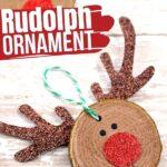Wooden Slice Rudolph Ornament