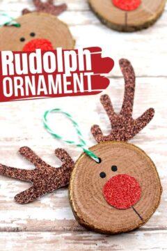 Wooden Slice Rudolph Ornament