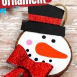 Frosty the Snowman Wooden Slice Ornament