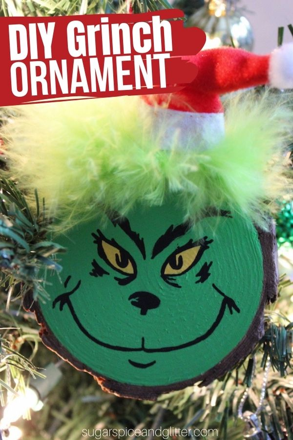 A simple step-by-step tutorial for how to make your own trio of DIY Grinch Ornaments. These simply wood slice ornaments would be a cute addition to your Christmas decor or a homemade gift for a teacher or Grinch fan!