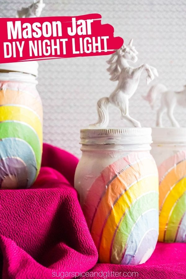 A magical craft for kids that has the added bonus of serving as a comforting night light at night! This DIY Unicorn Night Light is super simple to make and you can make them as bright or glowing as you'd like